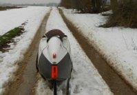 Velomobil im Schnee
