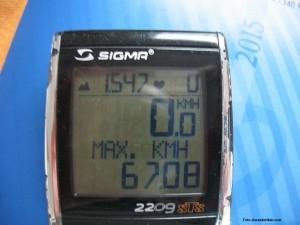 Foto der Vmax-Anzeige des Fahrradtachos